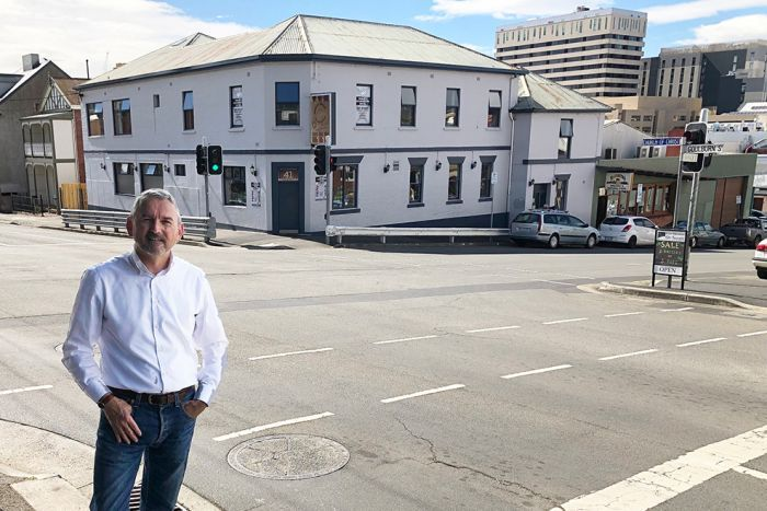 David Laskey outside the former Dog House Hotel in West Hobart