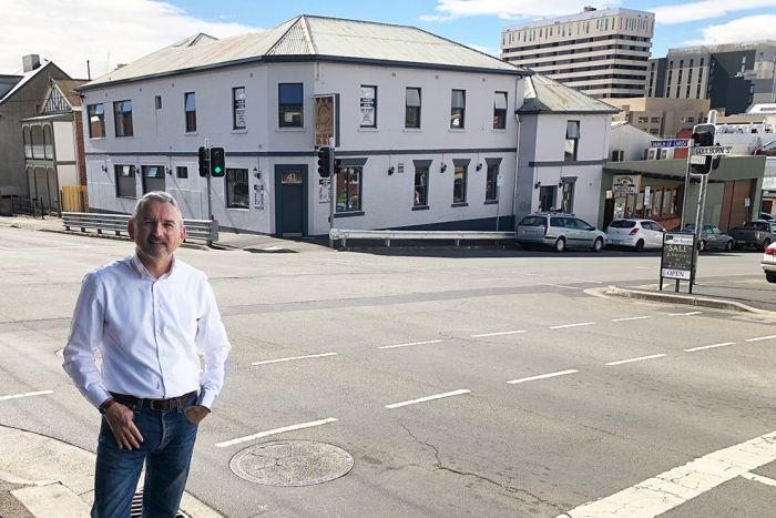 David Laskey outside the former Dog House Hotel in West Hobart