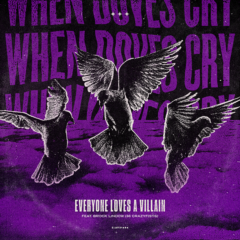 RECORD NICHE BEST NEW ALTERNATIVE ROCK 2020: Brock Lindow' of '36 CrazyFists' joins 'Everyone Loves A Villain' on their mammoth, gigantic 2020 Prince cover of 'When Doves Cry'