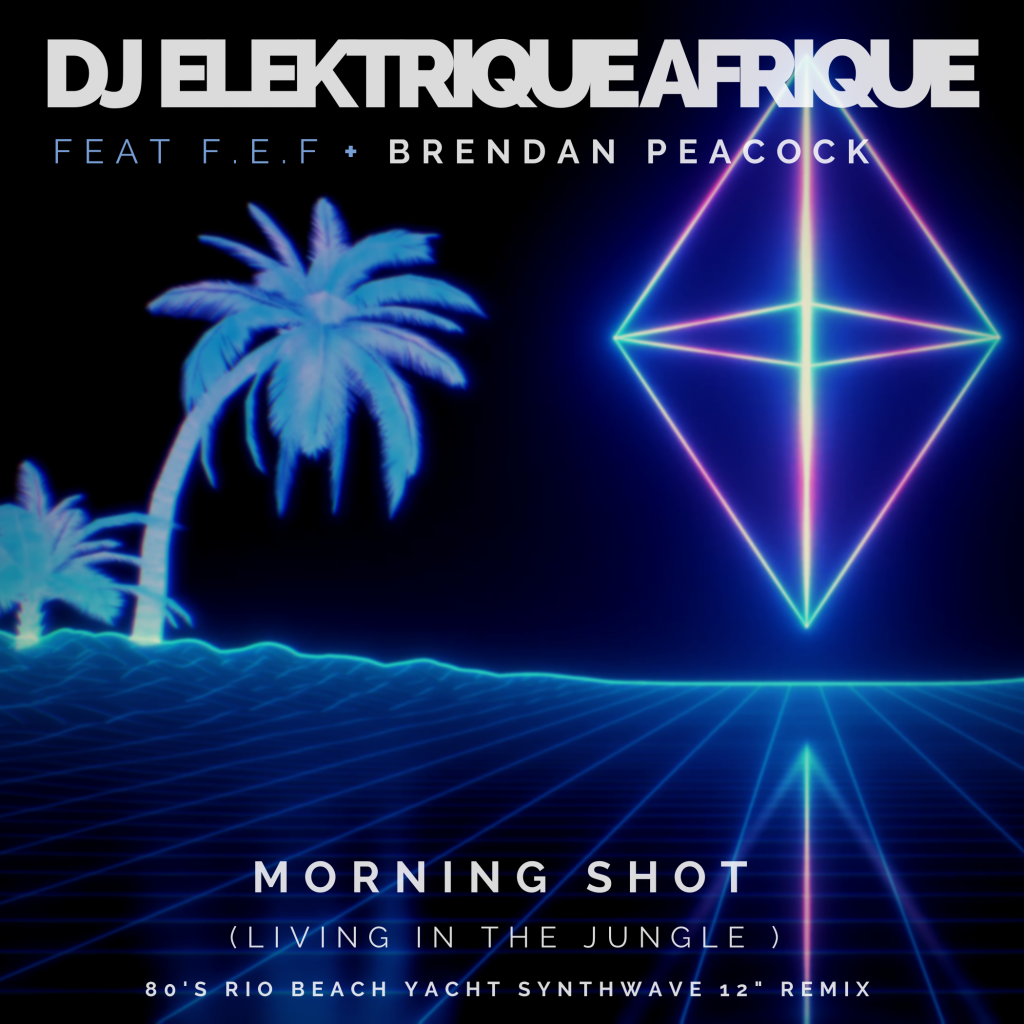 'DJ Elektrique Afrique' teams up with South African guitarist Brendan Peacock and F.E.F ( Futurist Electronic Foundation) for a nostalgic 80's single entitled 'Morning Shot' Living in the Jungle